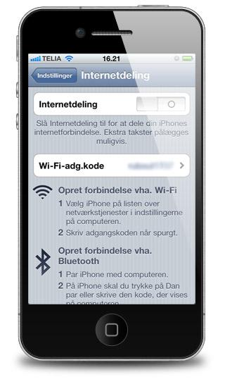 Internetdeling mellem iPhone og iPad